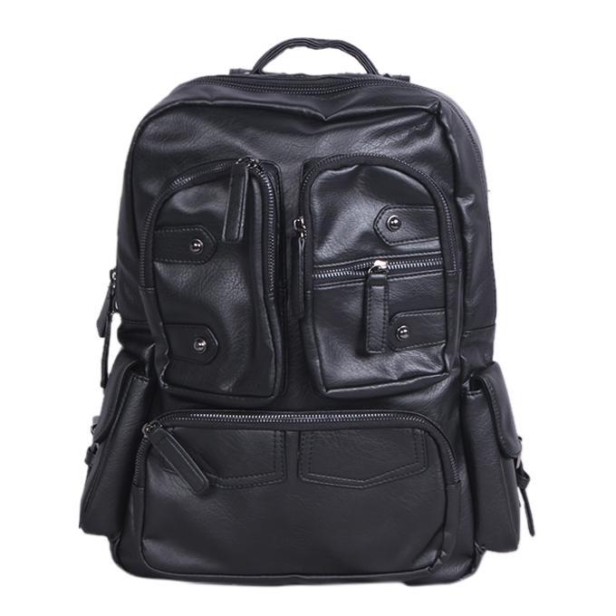 Black Leather Backpack For Men