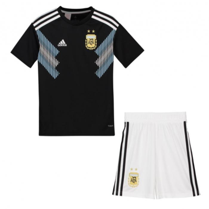 bbd8a75f21a Polyester Short Sleeve Argentina Away Jersey for Kids with Shorts - Black