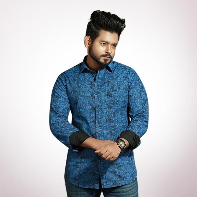 Multicolor Cotton Long Sleeve Casual Shirt for Men