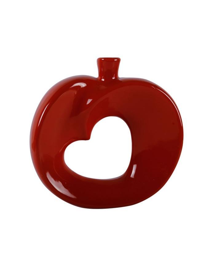 Ceramic Heart Shaped Vase - Red