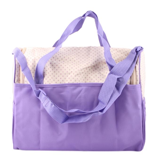 Cream and Violet Polyester Hand Bag For Women