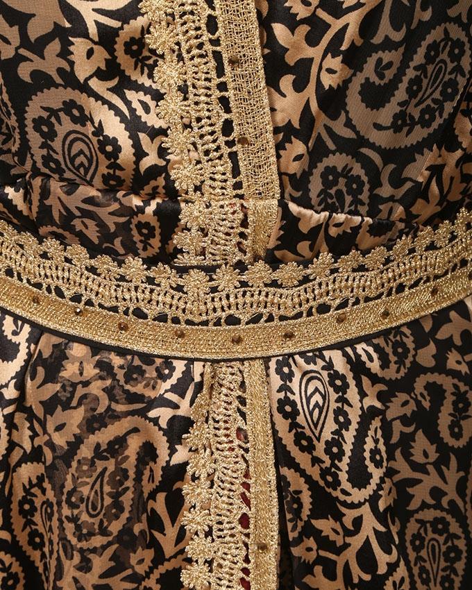 Black And Golden Georgette Kaftaan For Women