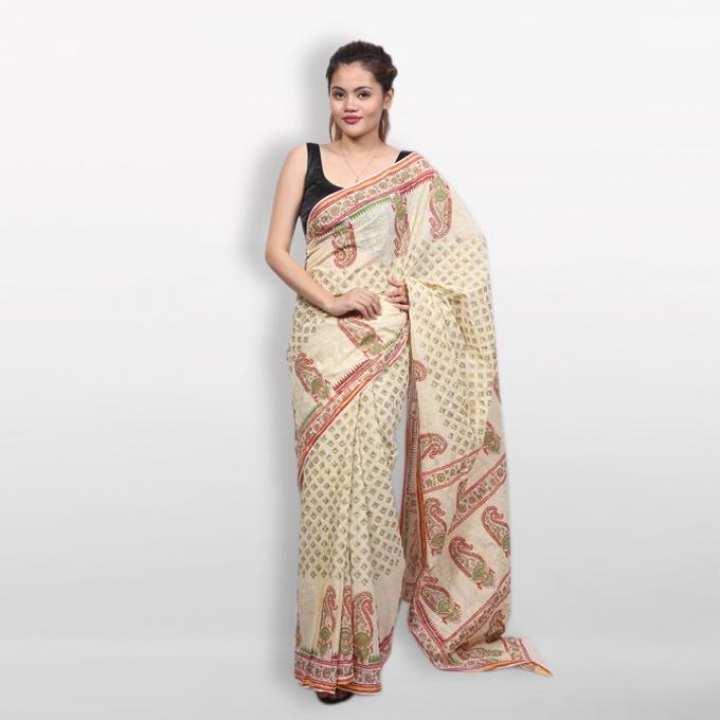 Cream Cotton Block Printed Saree for Women