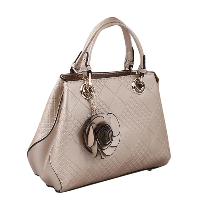 Cream  PU Leather Hand Bag For Women