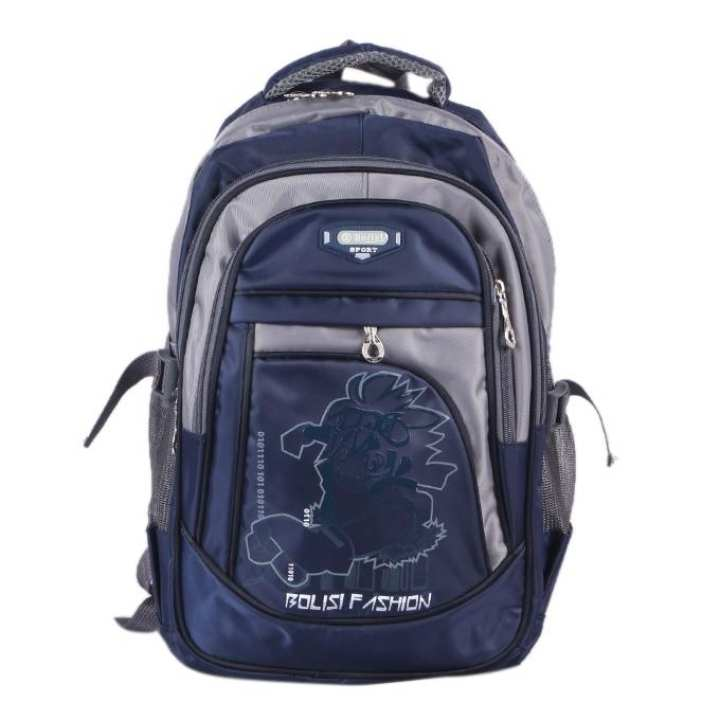 Polyester Backpack For Boys - Blue and Gray