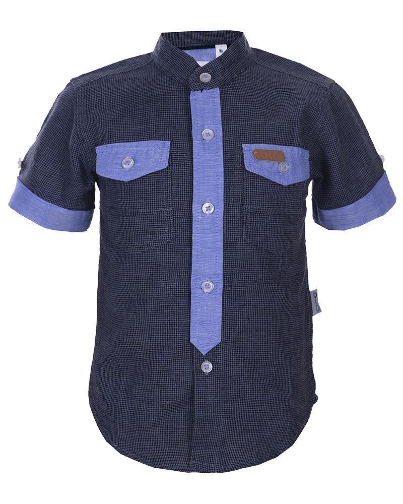 Boys Cotton Short Sleeve Shirt - Black and Blue