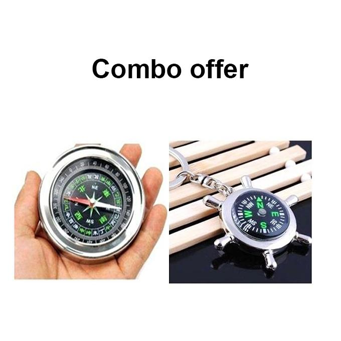 Stainless Steel Compass with Key Ring - Silver
