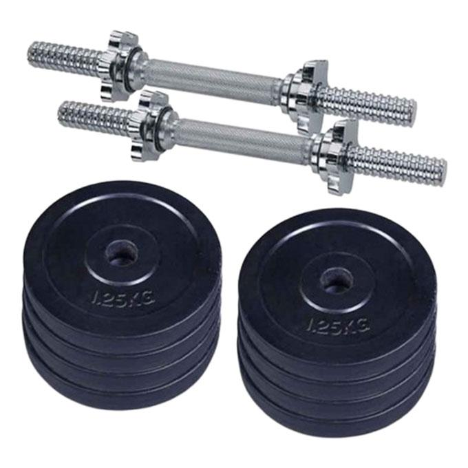 Eight Pieces Dumbbell Set With Two Sticks - 10Kg - Black and Silver