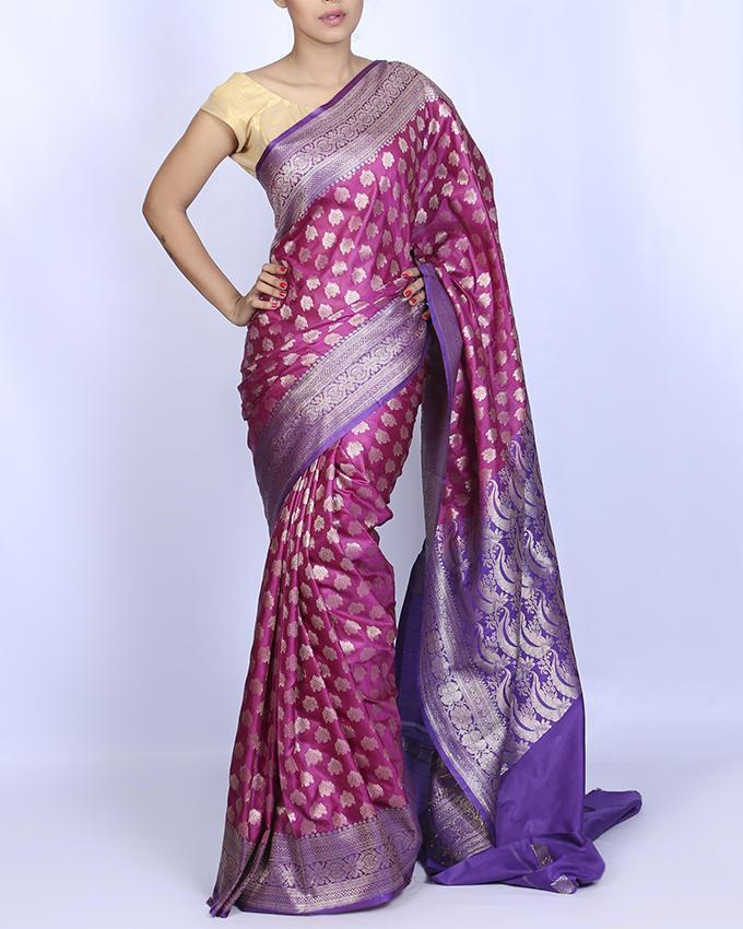 Katan Silk Party Saree - Light Pink and light Purple