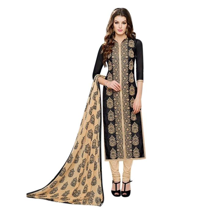 Black and Cream Cotton Un-stitched Block Printed Shalwar Kameez For Women