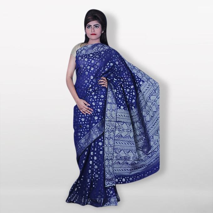 Navy Blue Half Silk Sharee For Women