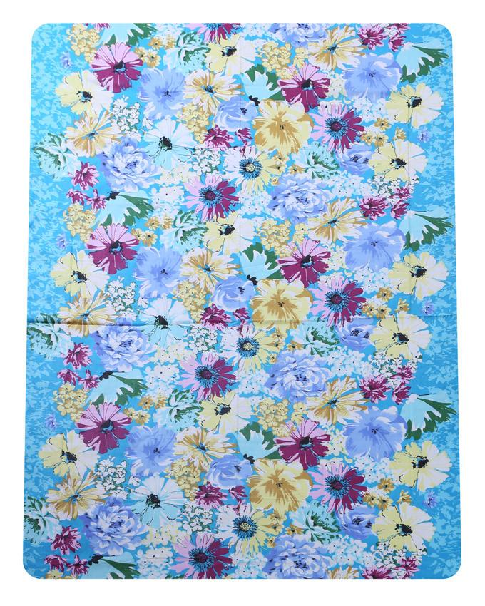 Cotton Printed Bed Sheet - Light Blue