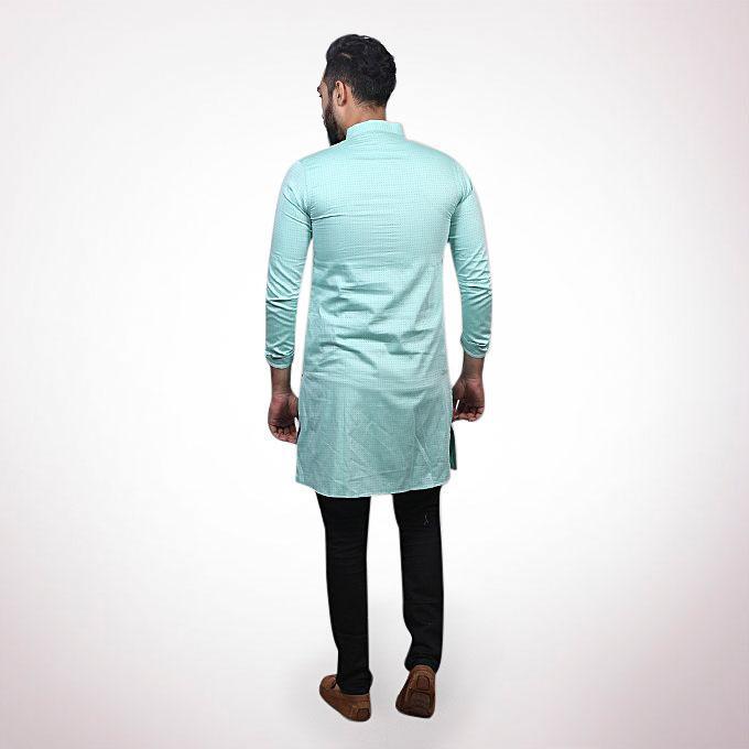 Light Turquoise Cotton Panjabi For Men