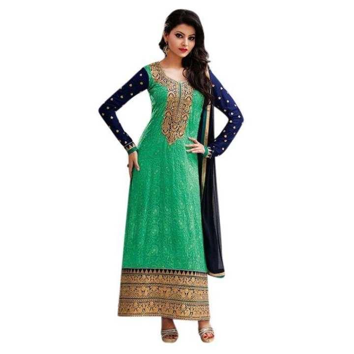 Light Green Cotton Un-stitched Block Printed Shalwar Kameez For Women