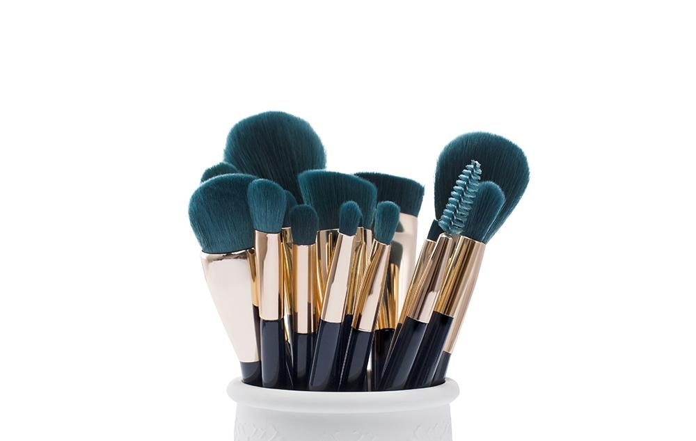 T113 15 PCs Colorful Series Brush Set - Blue & Dark-green set