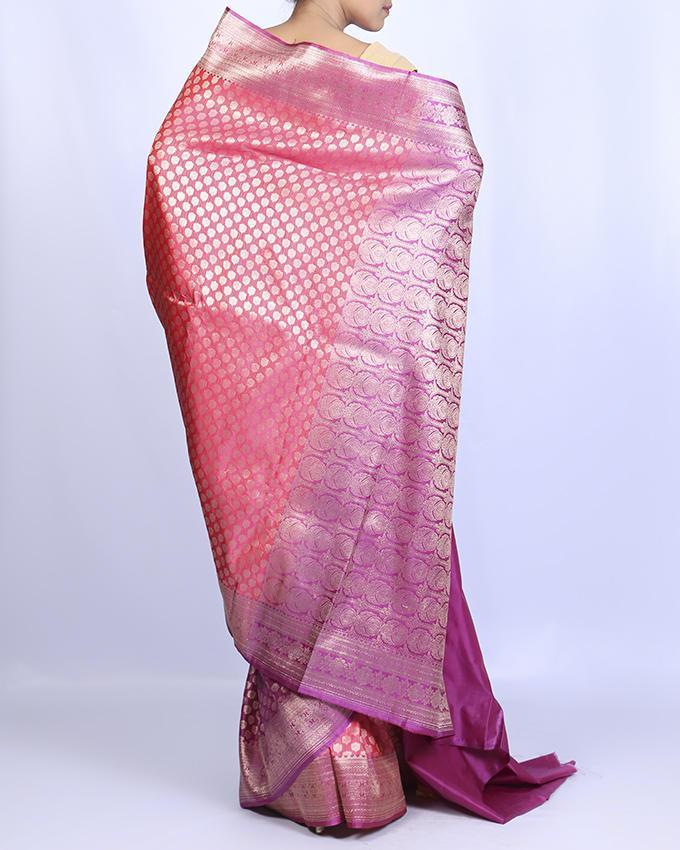 Katan Silk Party Saree - Light Pink and Purple