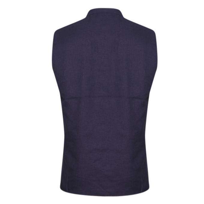 Navy Blue Cotton Casual Ethnic Vest For Men