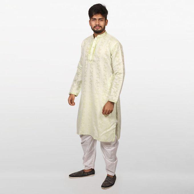 Light Lemon Braso Cotton Panjabi for Men