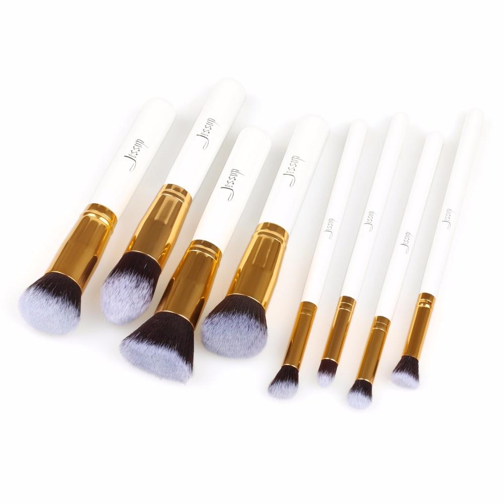 T079 8 PCs Kabuki Series Brush Set - White and Golden