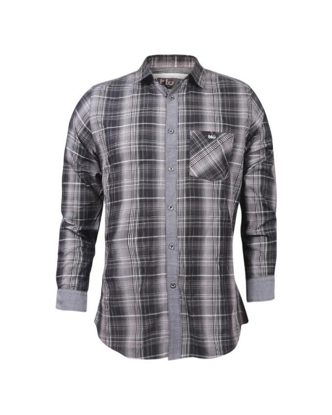 Grey Cheek Cotton Casual Long Sleeve Shirt For Men