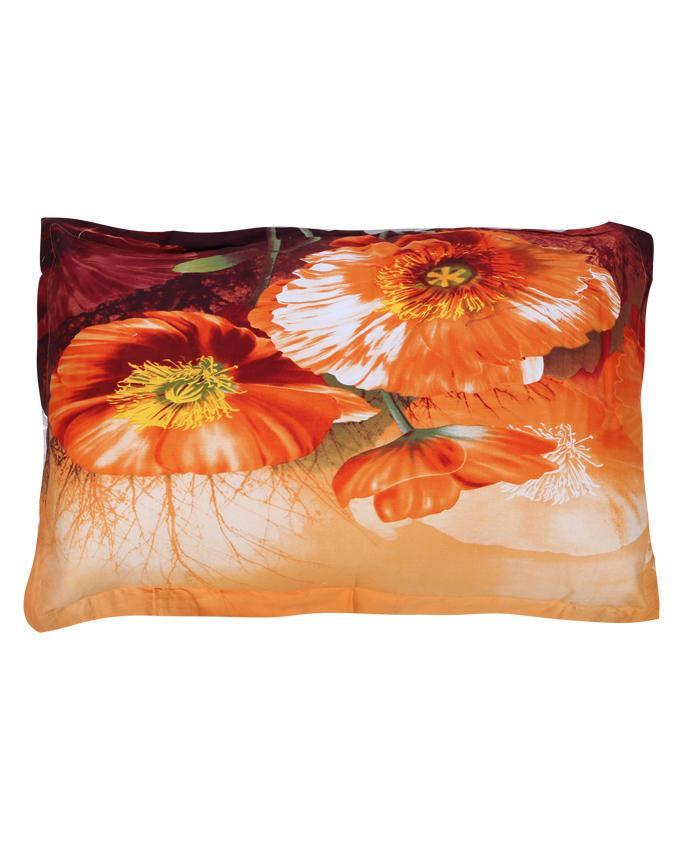 Cotton Printed Bed Sheet - Orange