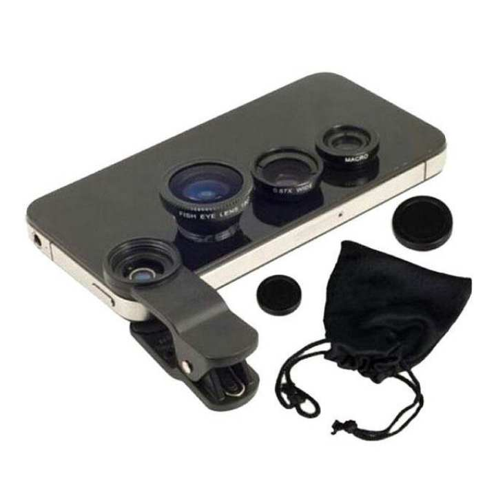 Universal Clip-on Lens With 3-in-1 Effect – Black