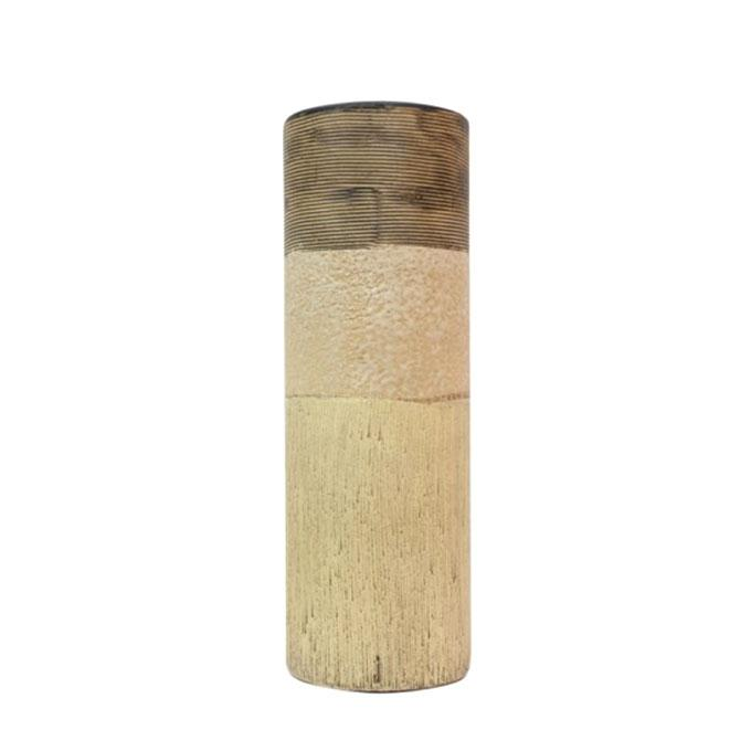 "Ceramic Cylinder Vase - 12"" - Off White and Wooden Color"