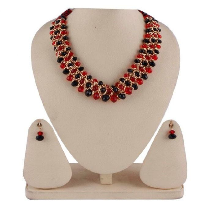 RA0071 Red And Black Stone Jewellery Set For Women