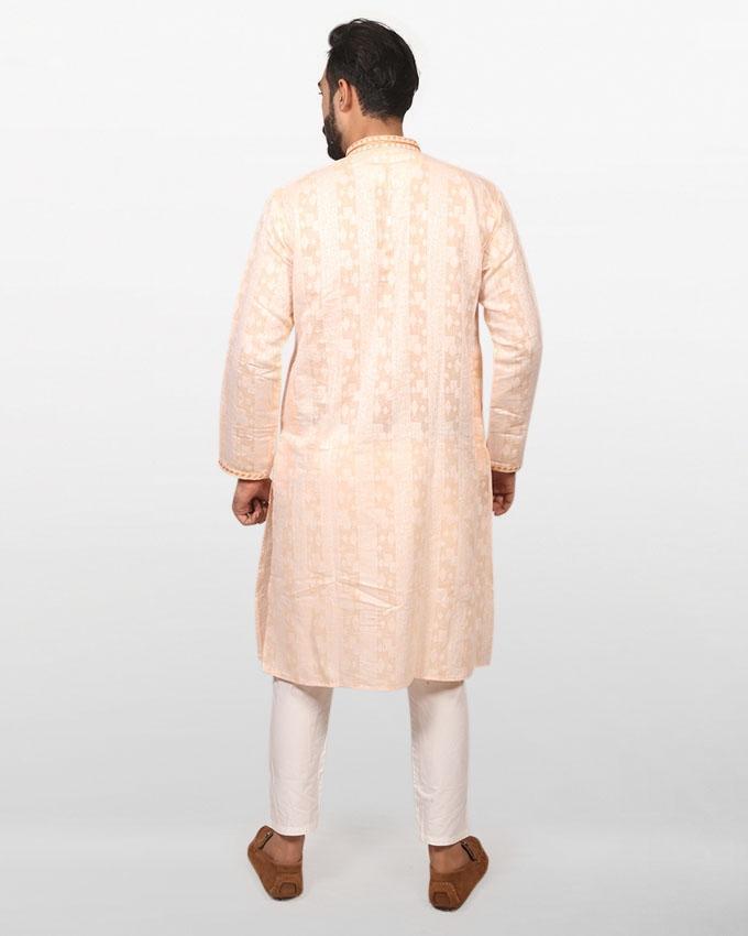 Beige Braso Cotton Panjabi for Men