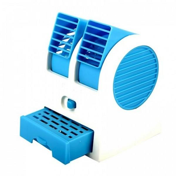 Air Conditioner Shaped Mini Double Cooler Fan - White and Blue