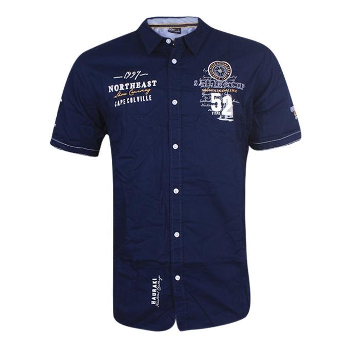 Navy Blue Cotton Short Sleeve Casual Shirt for Men