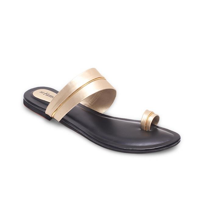 Black and Off White Artificial Leather Flat Sandal for Women