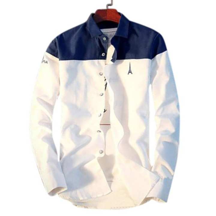 Dark Blue and White Cotton Causal long Sleeve Shirt For Men