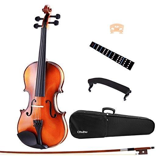 Deviser Full Size 4/4 Natural Violin Fiddle with Violin Case, Bow, Rosin and Bridge – Student Violin Starter Kit