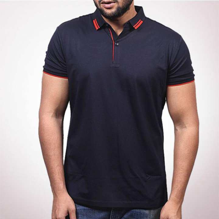 Navy Blue Cotton Polo For Men