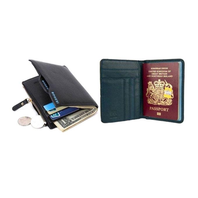 Black Leather Wallet and Leather Passport Cover for Men