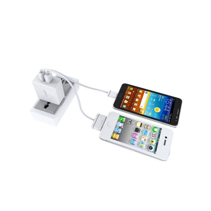 Ldnio 2.1A Dual USB Fast Charger with Data Cable- White