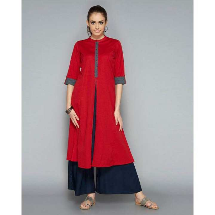 Red and Black Linen Kurti for Women (Tailor Made)