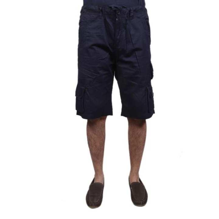 Navy Blue Cotton Shorts For Men