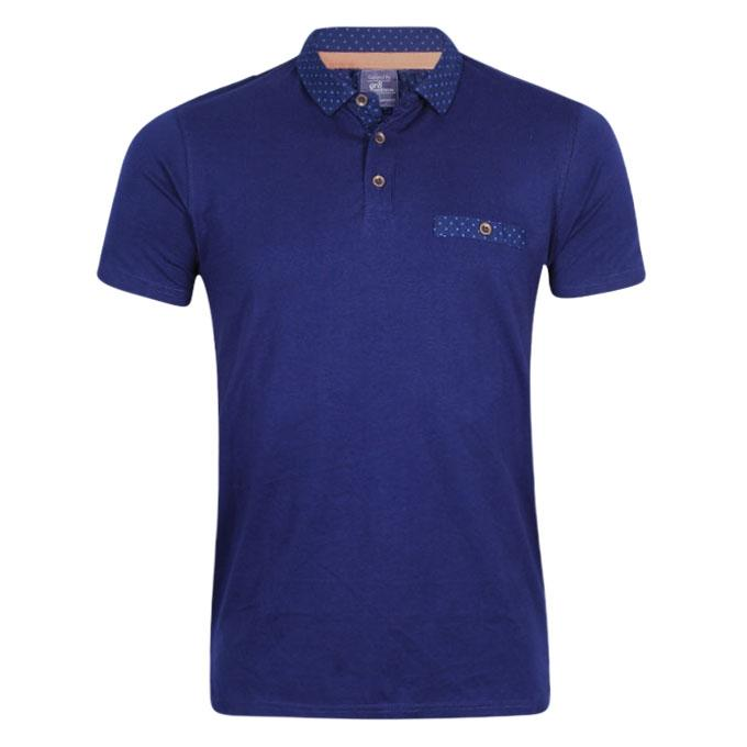 Blue Cotton Polo Shirt For Men