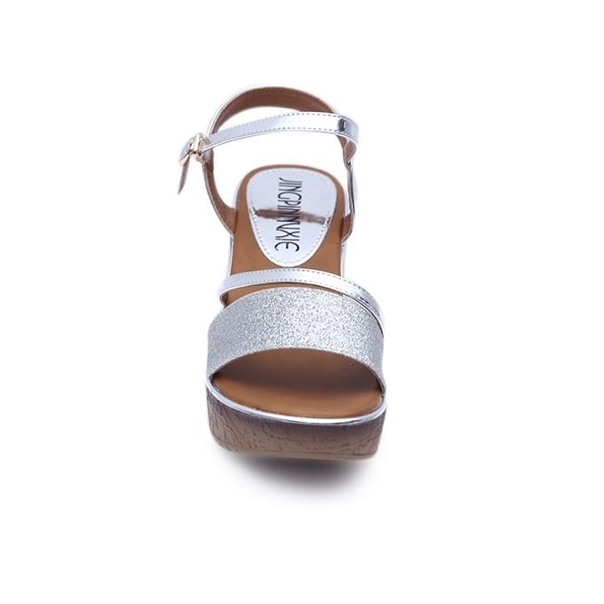 Silver and Brown Artificial Leather Wedges for Women