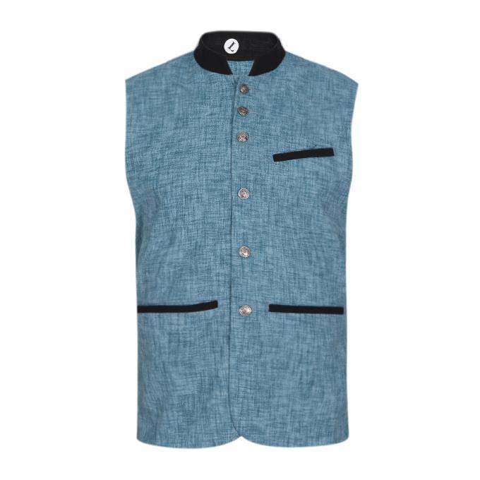 Sky Blue Cotton Casual Ethnic Vest For Men