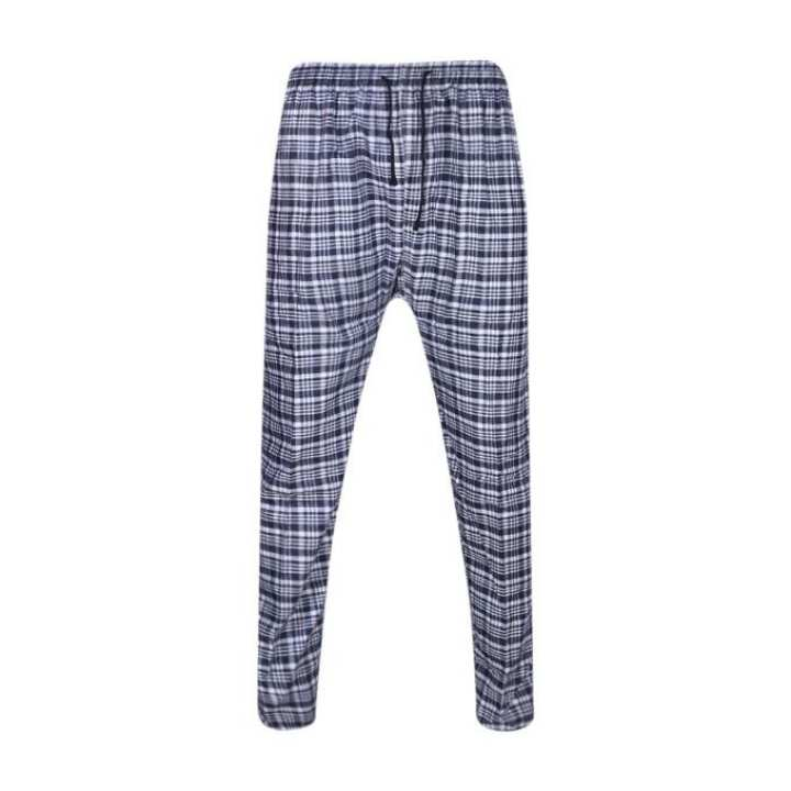 Navy Blue and White Cotton Trouser For Men