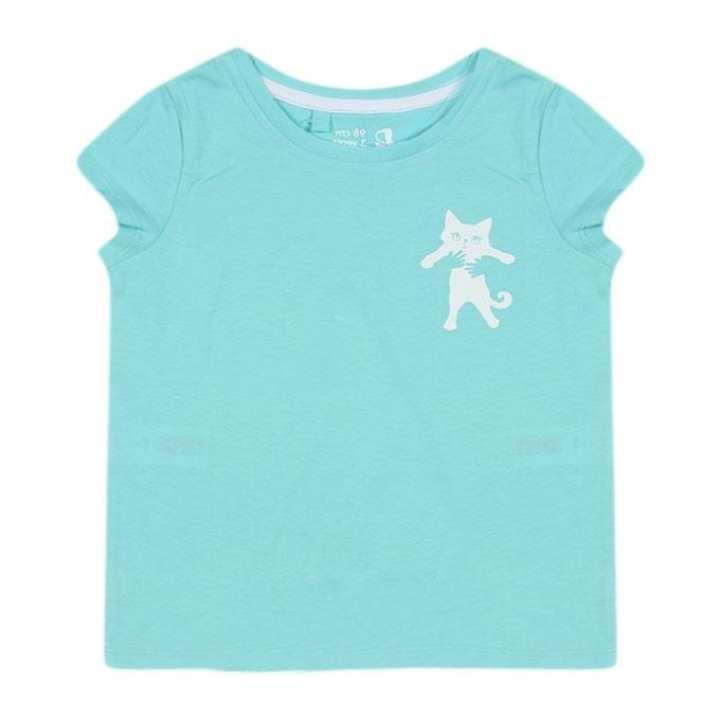 Deep Sky Blue Cotton Short Sleeves T-shirt For Girls