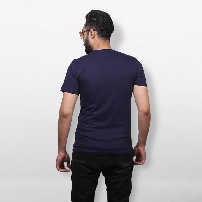 Navy Blue Cotton Ghost Text T-Shirt For Men