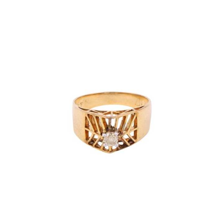 Solitaire Gents Diamond Ring - Rose Gold