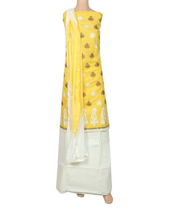 Cotton Unstiched Salwar Kameez For Women - Yellow and White