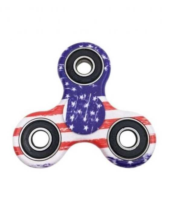 US Flag Printed Fidget Spinner Stress Reducer Toy - Multicolor