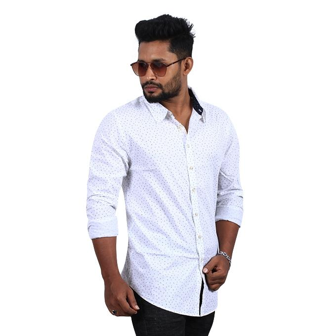 White Cotton Casual Long Sleeve Shirt for Men