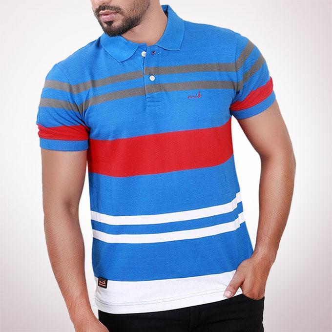 Blue Cotton Polo For Men